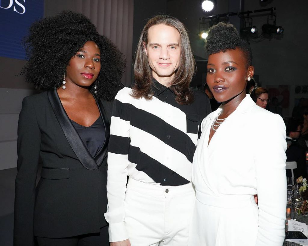 Jordan Roth with Dede Ayite and Lupita Nyong'o at MOMA